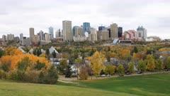 Timelapse of Edmonton City Center in fall 4K