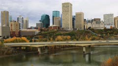 Timelapse of Edmonton City Center in autumn 4K