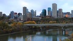 Timelapse of Edmonton downtown in fall 4K
