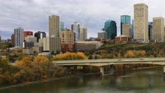 Timelapse of Edmonton Cityscape in fall 4K