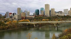 Timelapse of Edmonton Cityscape in autumn 4K