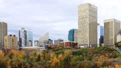 Timelapse of Edmonton, Canada City Center in autumn 4K