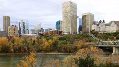 Timelapse of Edmonton, Canada downtown in fall 4K