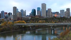 Timelapse of Edmonton, Canada downtown in autumn 4K