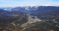 Aerial view of Jasper, Alberta in the Rocky Mountains 4K