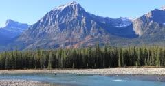 River in the Rocky Mountains near Jasper 4K