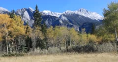 View of Rocky Mountain with yellow aspens 4K