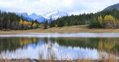 Mountains and Vermillion Lakes near Banff in Canada 4K