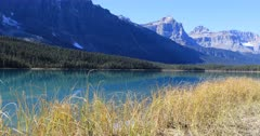 Vermillion Lakes and mountains near Banff in Canada 4K
