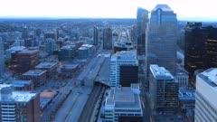 Timelapse day to night Calgary, Alberta skyline 4K
