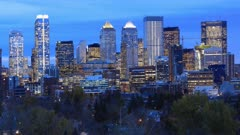 Timelapse night to day Calgary, Alberta city center 4K