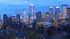Timelapse night to day Calgary, Alberta skyline 4K