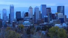 Timelapse from day to night Calgary, Alberta city center 4K