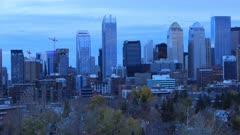 Timelapse from day to night Calgary, Alberta skyline 4K