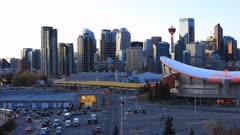 Timelapse pan day to night of the Calgary, Alberta city center 4K