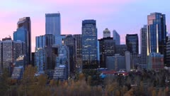 Timelapse day to night Calgary, Alberta city center 4K