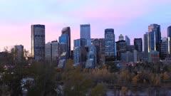 Timelapse day to night of the Calgary, Alberta skyline 4K
