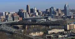 View of the Cincinnati, Ohio skyline with rush hour traffic 4K