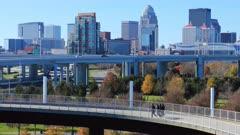 Timelapse of Louisville, Kentucky with pedestrian walkway 4K