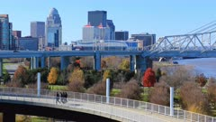 Timelapse of Louisville, Kentucky and pedestrian walkway 4K