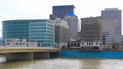 Timelapse of the Dayton city center with Miami River in front 4K