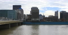 View of the Dayton city center with Miami River in front 4K