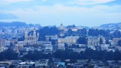 Timelapse of San Francisco city center on a misty day 4K