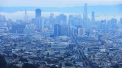 Timelapse of San Francisco city center on a foggy day 4K
