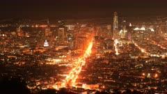 Night timelapse of San Francisco city center 4K