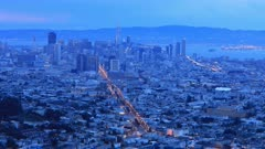 Day to night zoom timelapse of San Francisco 4K