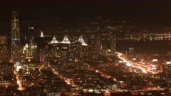 Night timelapse of San Francisco, California city center 4K