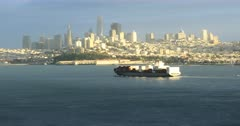 San Francisco skyline with container ship in foreground 4K