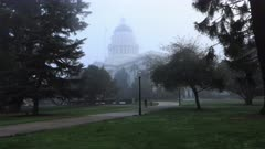 Timelapse of the State Capitol in Sacramento, California in fog 4K