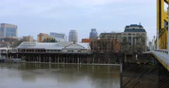 View of Old Sacramento across Sacramento River 4K