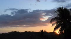 Sunset over the Costa Rica hills 4K