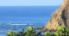 Coastline scene in Costa Rica with rocky shore 4K