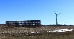 Wind Turbines by a corn crib 4K