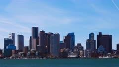 Timelapse of the Boston skyline across the harbor 4K