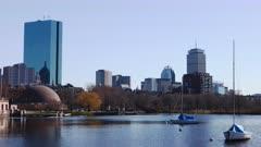 Timelapse of the Boston city center across the harbor 4K