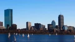 Timelapse of the Boston downtown across the harbor 4K