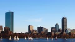Timelapse of the Boston, Massachusetts skyline across the harbor 4K