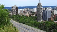 Timelapse of Hamilton, Canada expressway with city center behind 4K