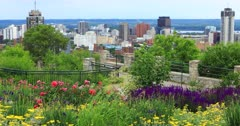 View of Hamilton, Canada, city center with flowers in front 4K