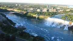 Aerial timelapse of the American Falls and Rainbow Bridge 4K