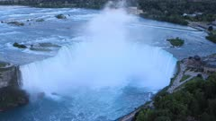 Aerial timelapse of Horseshoe Falls, Niagara Falls as night falls 4K