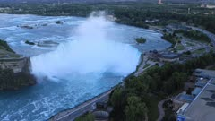 Timelapse aerial of Horseshoe Falls, Niagara Falls as night falls 4K