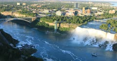 Aerial view of the American Falls and Rainbow Bridge 4K