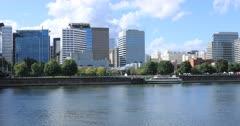 Portland, Oregon city center across the Willamette River 4K