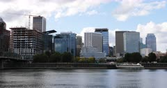 Portland, Oregon downtown across the Willamette River 4K