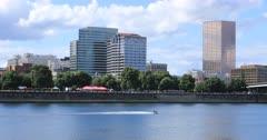 Portland, Oregon skyline by the Willamette River 4K
